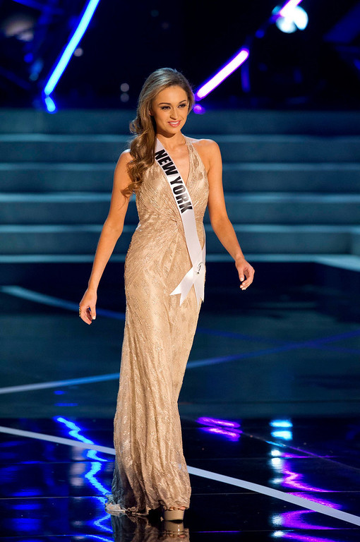 . Miss New York USA 2013, Joanne Nosuchinsky, competes in her evening gown during the 2013 MISS USA Competition Preliminary Show at PH Live in Las Vegas, Nevada June 12, 2013.  She will compete for the title of Miss USA 2013 and the coveted Miss USA Diamond Nexus Crown LIVE on NBC starting at 9:00 PM ET on June 16th, 2013 from PH Live.  Picture taken June 12, 2013.  REUTERS/Darren Decker/Miss Universe Organization L.P., LLLP/Handout via Reuters