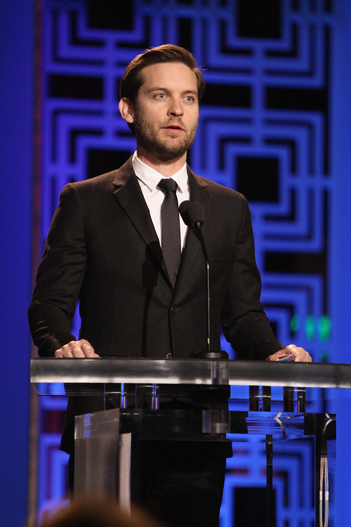 . Actor Tobey Maguire speaks onstage during the 2013 WGAw Writers Guild Awards at JW Marriott Los Angeles at L.A. LIVE on February 17, 2013 in Los Angeles, California.  (Photo by Maury Phillips/Getty Images for WGAw)