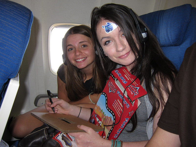 Alaina and Gracie on our flight to Albany.