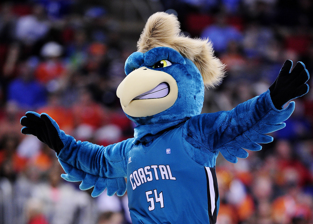 . The Coastal Carolina Chanticleers mascot performs in the second half against the Virginia Cavaliers during the Second Round of the 2014 NCAA Basketball Tournament at PNC Arena on March 21, 2014 in Raleigh, North Carolina.  (Photo by Grant Halverson/Getty Images)