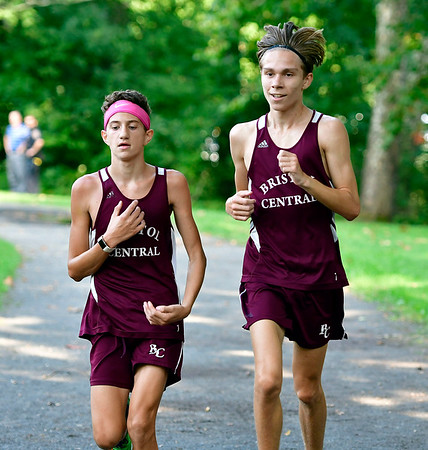 9/19/2018 Mike Orazzi | Staff Central's Mark Petrosky and Nate D'Angelo during Wednesday's boys cross country meet between Bristol Central, Platt and Plainville at Rockwell Park in Bristol on Wednesday.