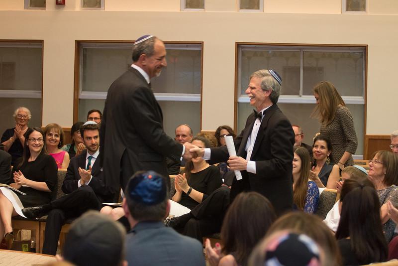 David Mills greets Rabbi Rudolph -- Tour de Rudolph -- Retirement tribute for Rabbi Bill Rudolph, Congregation Beth El, Bethesda, MD, May 17, 2015