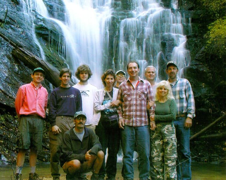 Waterfall Seekers in front of King Creek Falls SC  L-R KT, Jay, Ian, Cathy, Hal, Harry, Kevin, Dana, Kenny, squatting in front--Waterfall Rich Stevenson