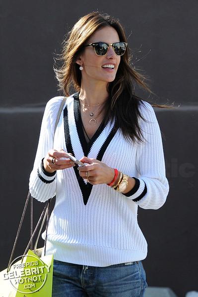 EXCLUSIVE: Make-up Free Alessandra Ambrosio Wears A Cricket Sweater Shopping With Brazilian Model Michelli Buback, LA