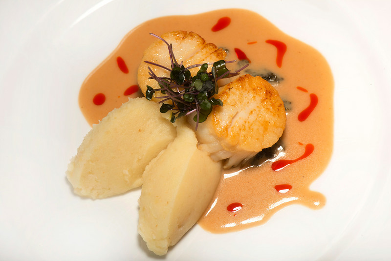 Seared scallops and mashed potatoes with curry sauce at Logan restaurant, located at 115 West Washington Street in Ann Arbor, MI.