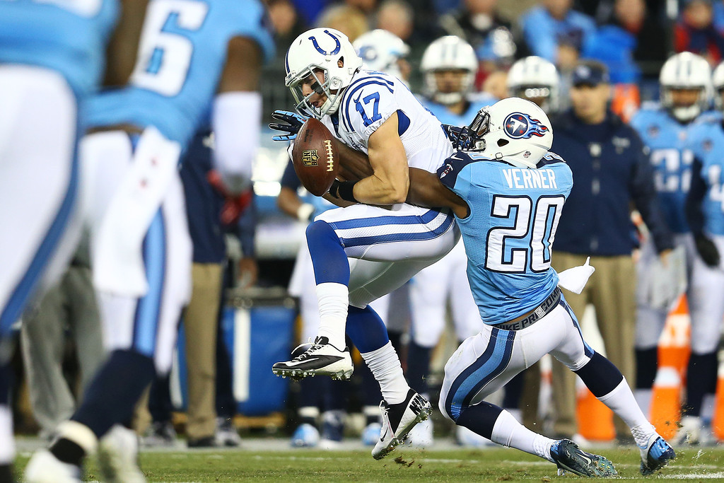 . NASHVILLE, TN - NOVEMBER 14:   Alterraun Verner #20 of the Tennessee Titans breaks up a pass intended for  Griff Whalen #17 of the Indianapolis Colts in the first quarter at LP Field on November 14, 2013 in Nashville, Tennessee.  (Photo by Andy Lyons/Getty Images)