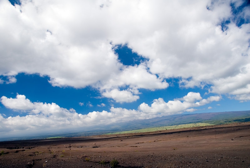 View up to Mauna Loa from the southwest rift zone of Kilauea Volcano