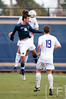 Nov 13, 2011; Ann Arbor, MI, USA;Penn State Nittany Lions midfielder Minh Vu (10) heads the ball over a Northwestern Wildcats player in the first half at the final game of the 2011 Big Ten Championship at Michigan Soccer Stadium. Mandatory Credit: Tim Fuller-US PRESSWIRE