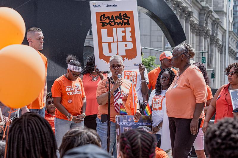 Wear Orange walk in solidarity with survivors across the Brooklyn Bridge, Jun 8, 2019.