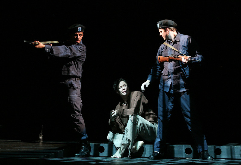 """HOLLYWOOD, CA - JUNE 17: (L-R) Cast members actors Julius Rubio, Tom Schmid and Kyle Vaughn perform during the dress rehearsal of The Who's """"Tommy"""" held at the Richardo Montalban Theatre on June 17, 2008 in Hollywood, California.  (Photo by Ryan Miller/Capture Imaging)"""