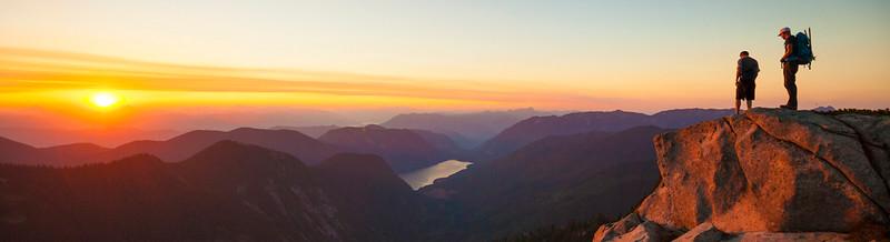 Hiking above Jones Lake at sunset.
