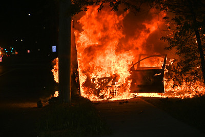 Car Bursts Into Flames After Hitting Pole In Shirley {2021.05.16}