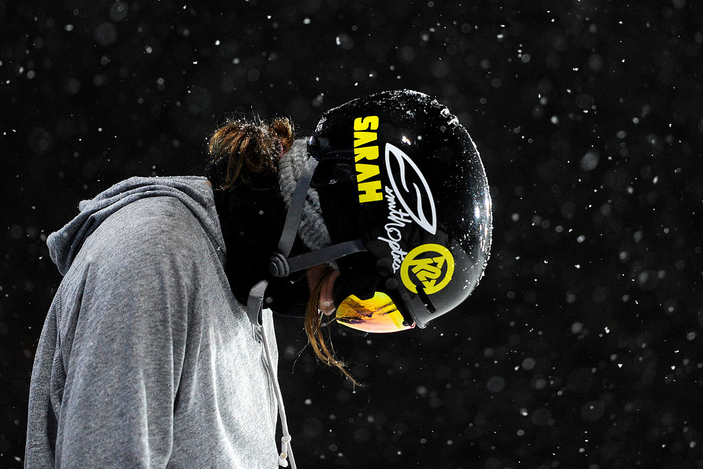 """. Brita Sigourney takes a moment while sporting \""""Sarah\"""" in honor of the late Sarah Burke before a practice run on the super pipe during Winter X Games 2012 at Buttermilk Mountain in Aspen on Thursday, January 26. AAron Ontiveroz, The Denver Post"""