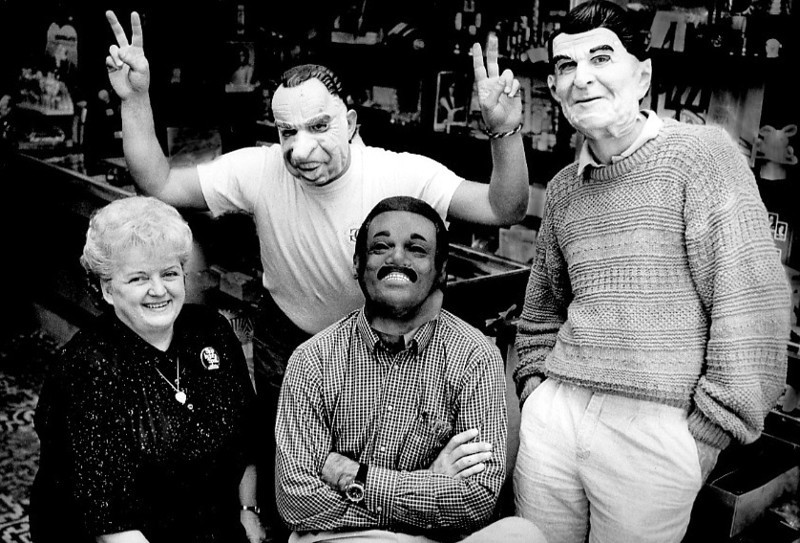 . 1988: Billie Jensen, left, owner of Los Gatos\' Ghastly Gallimaufry shop, with Richard Nixon, Jesse Jackson and Ronald Reagan. (Judy Griesedieck, Mercury News)