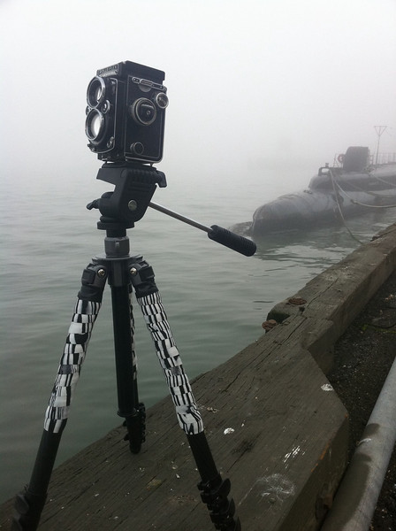 Shooting the Merchant Marine ship Jeremiah O'Brien with the sub USS Pampanito in the background with my Rollie 2.8E
