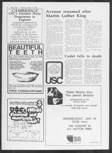 Daily Trojan, Vol. 93, No. 6, January 18, 1983