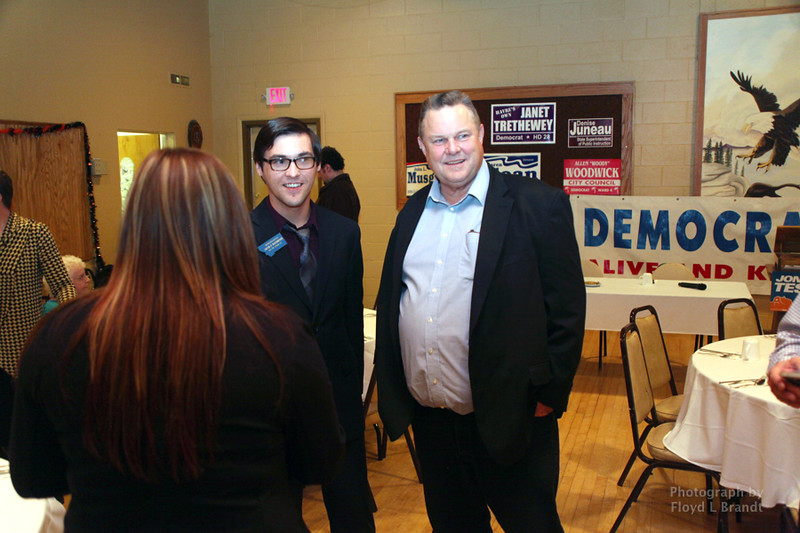 Havre Daily News/Floyd Brandt  Democrats held a fundraiser at the Eagles Club with State Congressman Jacob Bachmeier and U S Senator Jon Tester to raise fund for candidates running against Republican Greg Gianforte Saturday Oct 21, 2017 Havre, Montana