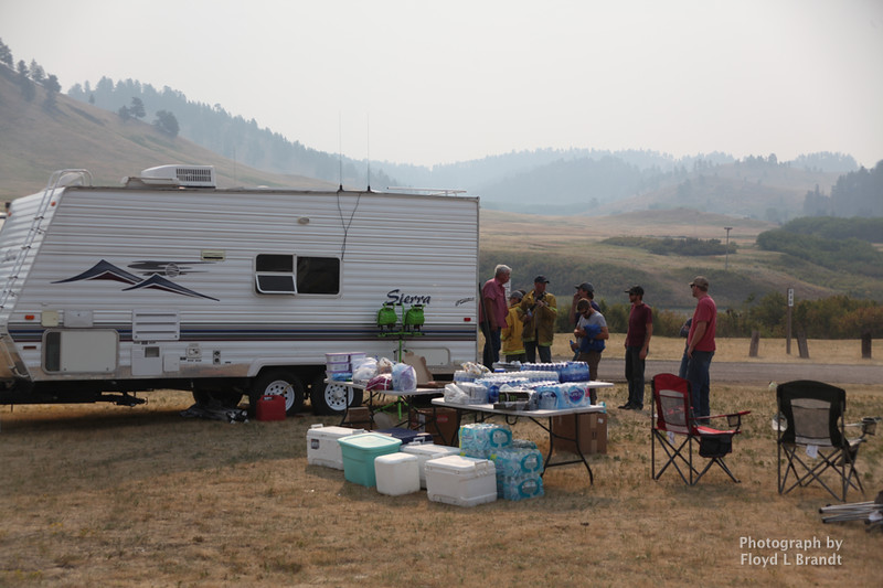 Havre Daily News/Floyd Brandt   Bear Paw Lake became a control center and staging point for the Left Fork Fire Thursday.