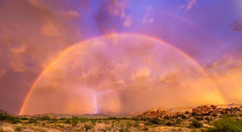 Rainbow and lightning at Texas Canyon