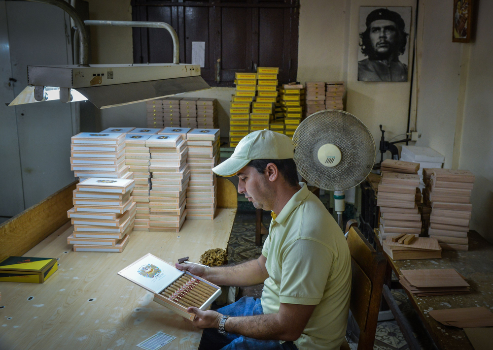 . A woker inspects finished cigar boxes at the H. Upmann Cigar Factory in Havana  on February 27, 2014. The production of Cuban cigars experienced an 8% growth in 2013 adding 447 million dollars to the Cuban economy. The XVI Havana Cigar Festival is running in Cuba with the presentation of the best Cuban cigars. (ALBERTO ROQUE/AFP/Getty Images)