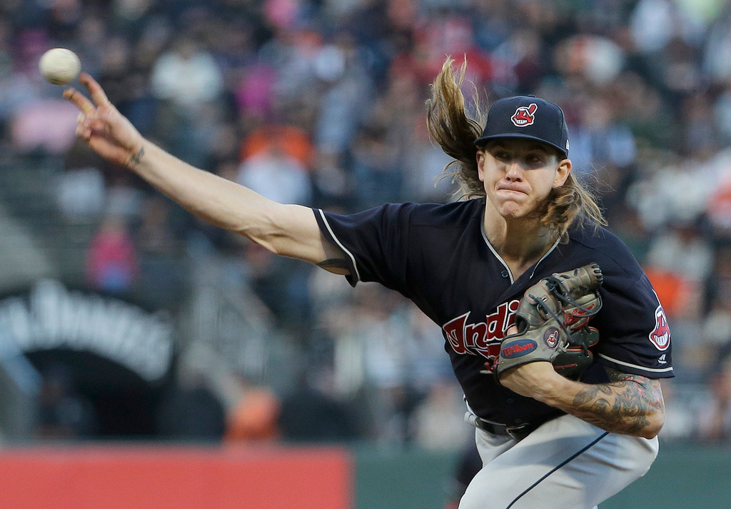. Cleveland Indians pitcher Mike Clevinger throws against the San Francisco Giants during the second inning of a baseball game in San Francisco, Tuesday, July 18, 2017. (AP Photo/Jeff Chiu)