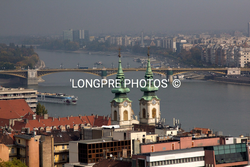 View of Danube River and Pest side of city.