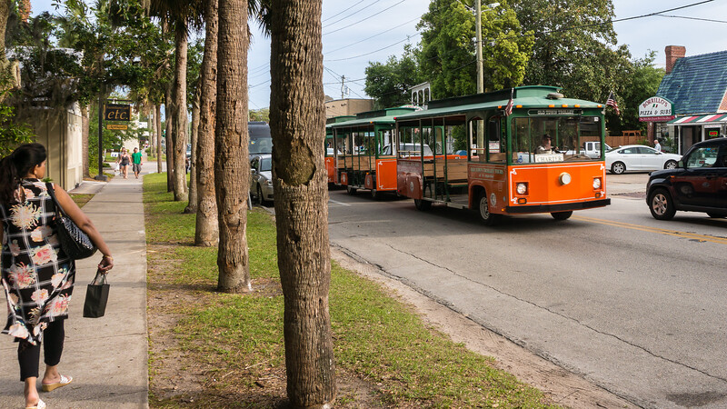 Trolley in front of Borrillo's Pizza & Subs