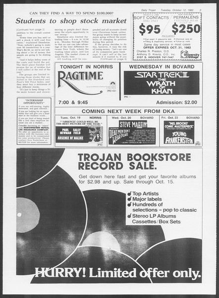 Daily Trojan, Vol. 92, No. 26, October 12, 1982