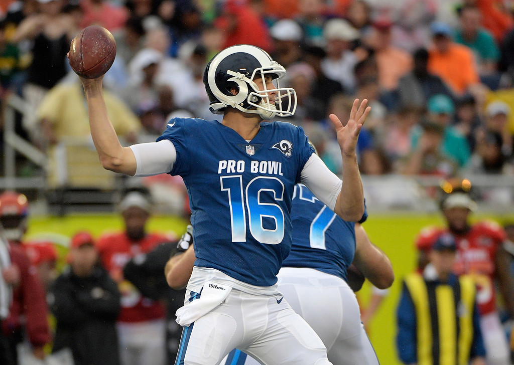 . NFC quarterback Jared Goff (16), of the Los Angeles Rams, looks to pass, during the second half of the NFL Pro Bowl football game against the AFC, Sunday, Jan. 28, 2018, in Orlando, Fla. (AP Photo/Phelan M Ebenhack)