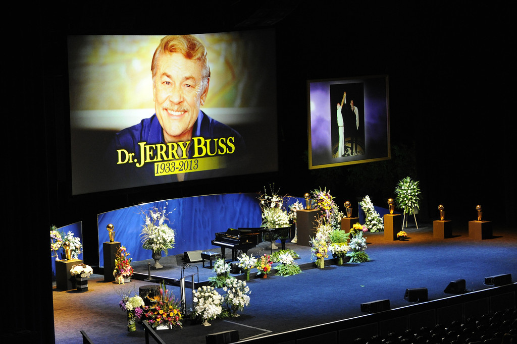 . Former Lakers, coaches, and loved ones attended a memorial service at the Nokia Theatre for Laker owner Jerry Buss who passed away on Monday, 2/18/2013 as a result of cancer. Los Angeles, CA 2/21/2013 John McCoy/staff photographer
