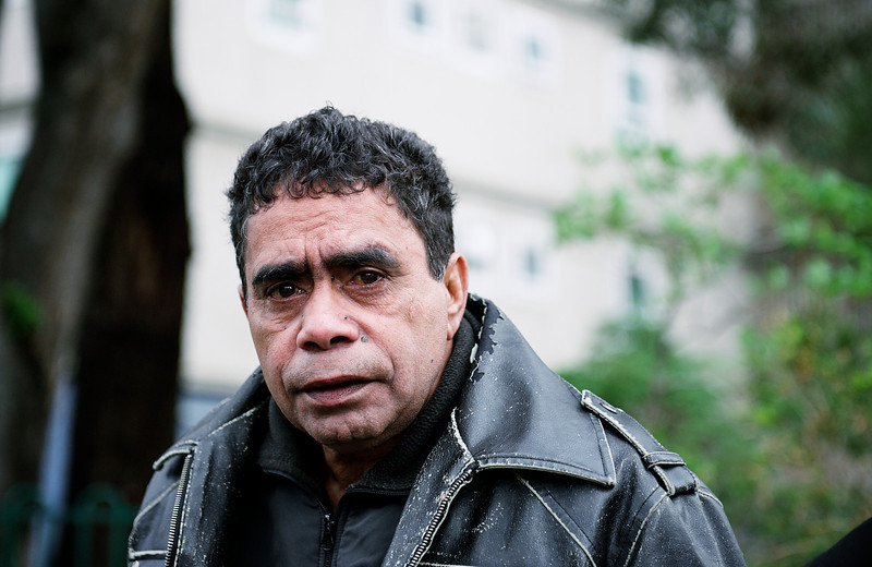 Indigenous Australian Man wearing a Black Leather Jacket