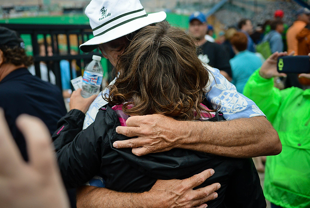 . Bill Murray stopped and gave this woman a 20-second, intimate hug after taking her ticket. She was stunned afterward. (Pioneer Press: Ben Garvin)