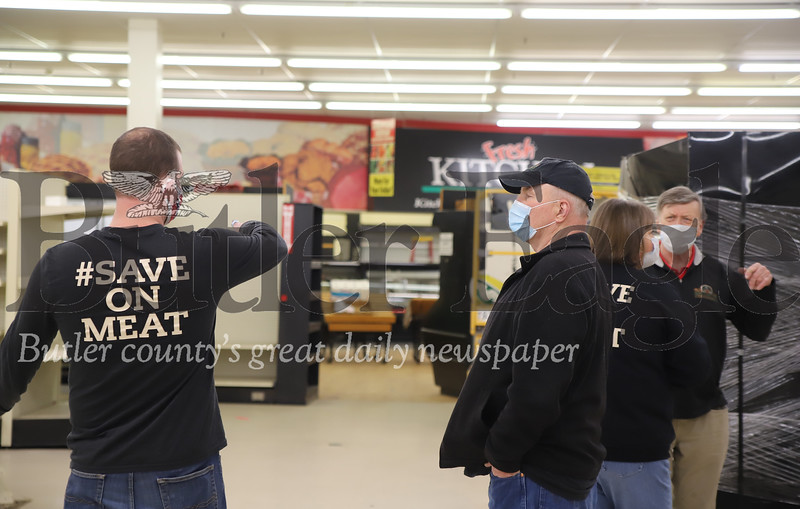 Ryan Sprankle (left) and his father Randy discuss plans for the new Sprankle's Neighborhood Market, opening in the old Friedman's building in Saxonburg. Randy's other son Doug will take over operations of the Saxonburg location. They plan to open in July. Seb Foltz/Butler Eagle