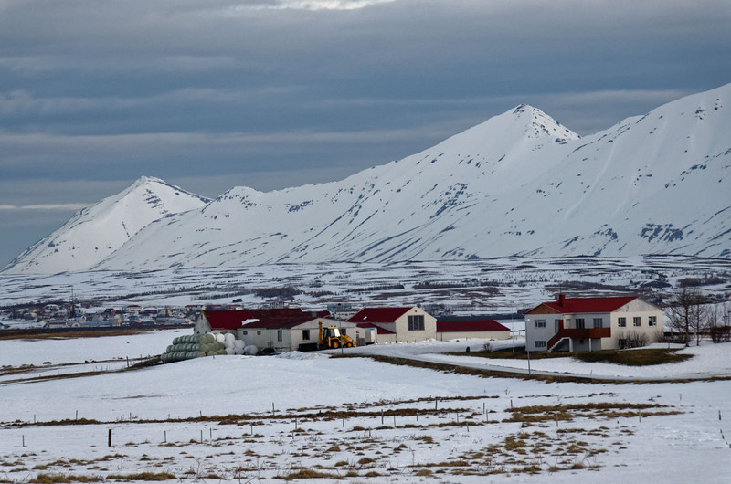 Settlement South of Dalvik in front of Hrisey Island village; background: Latraströnd (NE-coast of Eyjafjördur)