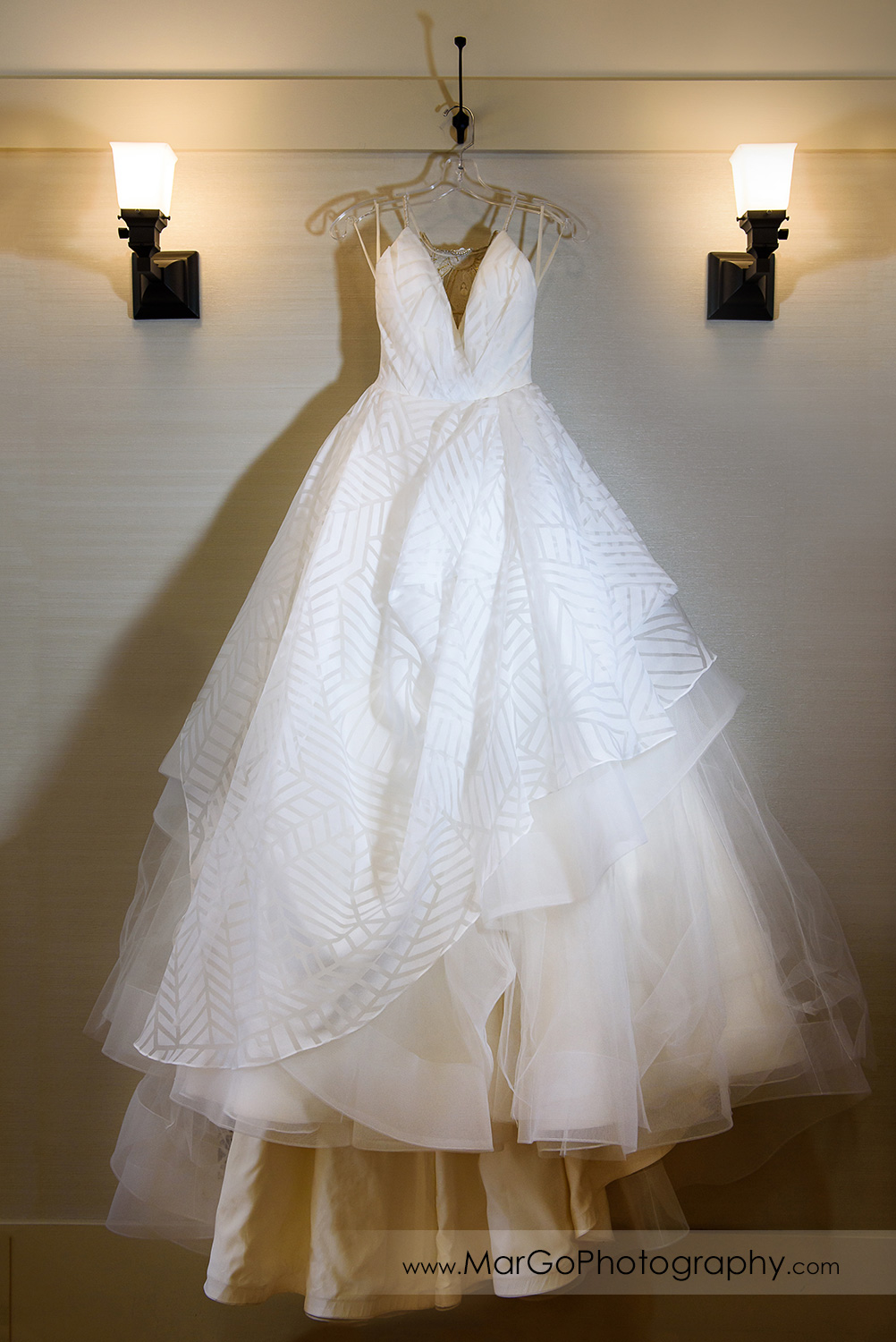 beautiful bridal dresses hanging in bridal suite at Saratoga Foothill Club