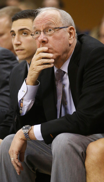 . Syracuse head coach jim Boeheim watches fro the bench during the first half of an NCAA college basketball game against Pittsburgh on Wednesday, Feb. 12, 2014, in Pittsburgh. (AP Photo/Keith Srakocic)