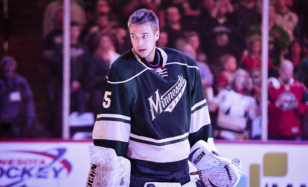 . Minnesota Wild goalie Darcy Kuemper gets loose before the start of the third period against the Avalanche.  (Pioneer Press: Ben Garvin)
