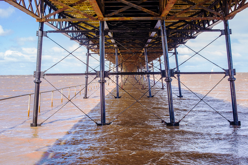 Took this rather dramatic view under the pier at Southport, England during the high spring tide of 25/4/17.