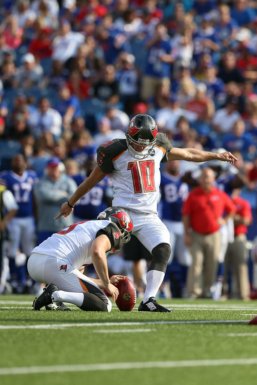 . Connor Barth, K, Tampa Bay Buccaneers In his five years as a pro, Barth has a made 84.2 percent of his field goals but sat out all of last season with a torn Achilles. He signed a four-year deal in 2012 and was set to earn $2 million this year. Connor Barth #10 of the Tampa Bay Buccaneers kicks a field goal against the Buffalo Bills during the first half at Ralph Wilson Stadium on August 23, 2014 in Orchard Park, New York. (Photo by Vaughn Ridley/Getty Images)