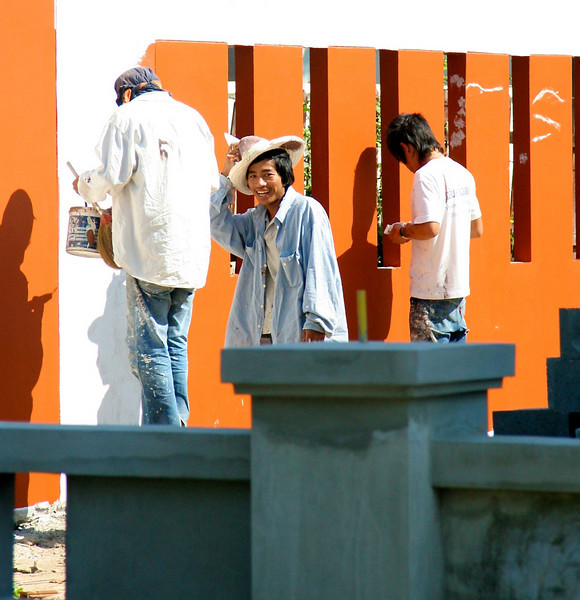 These guys were so cute.   They were painting that wall for the entire week