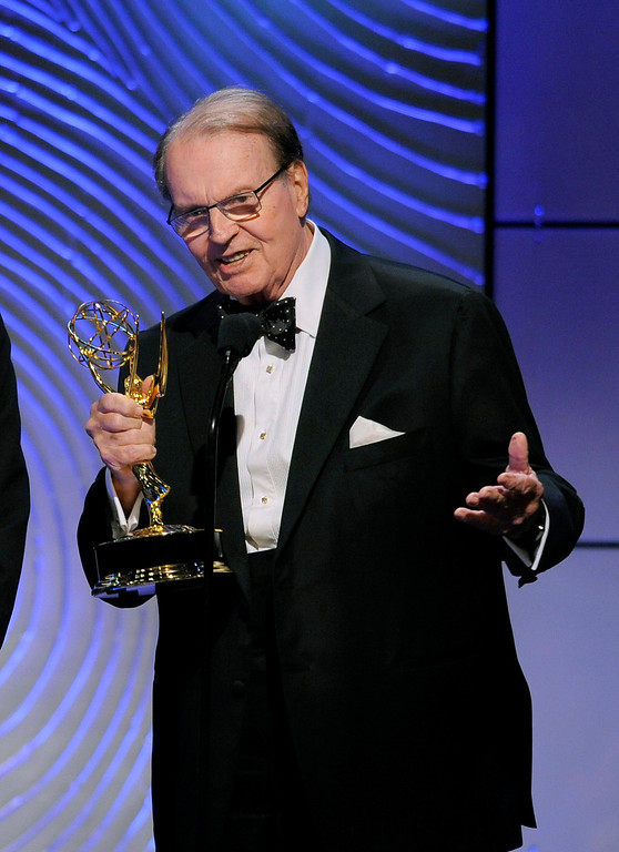 """. Charles Osgood accepts the award for outstanding morning program for \""""CBS Sunday Morning\"""" at the 40th Annual Daytime Emmy Awards on Sunday, June 16, 2013, in Beverly Hills, Calif. (Photo by Chris Pizzello/Invision/AP)"""