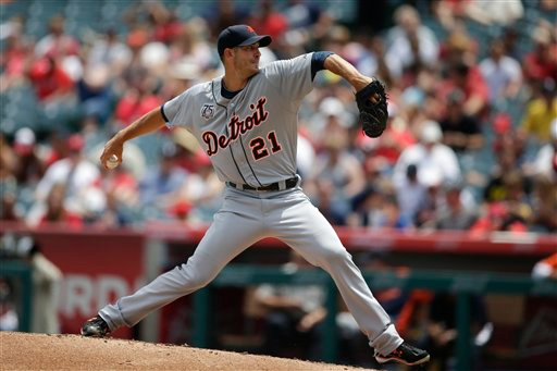 . Detroit Tigers starting pitcher Rick Porcello throws against the Los Angeles Angels during the first inning of a baseball game on Sunday, July 27, 2014, in Anaheim, Calif. (AP Photo/Jae C. Hong)