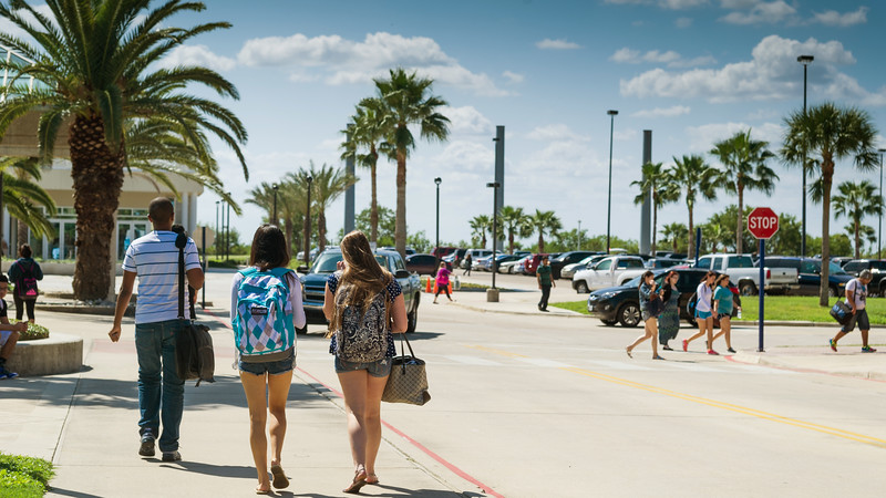 Students make their way to and from buildings on a busy, beautiful Fall Monday