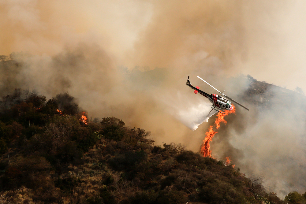 . A helicopter drops water on a fir on Thursday, Jan. 16, 2014, in Azusa, Calif. A wildfire burned out of control near homes in the dangerously dry foothills of the San Gabriel Mountains early Thursday, fanned by gusty Santa Ana winds that spit embers into neighborhoods in the city below, igniting trees. Evacuations were ordered for houses at the edge of the fire. (AP Photo/Jae C. Hong)