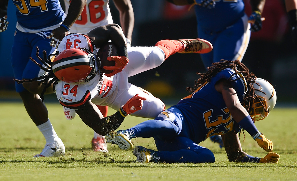. Cleveland Browns running back Isaiah Crowell is tackled by Los Angeles Chargers free safety Tre Boston during the first half of an NFL football game Sunday, Dec. 3, 2017, in Carson, Calif. (AP Photo/Kelvin Kuo)
