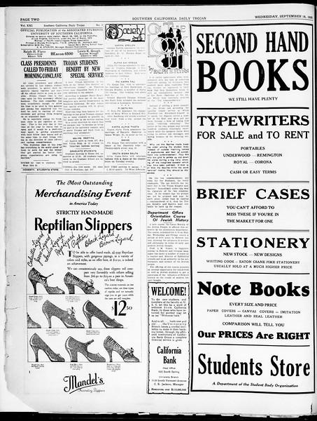 Southern California Daily Trojan, Vol. 21, No. 2, September 18, 1929