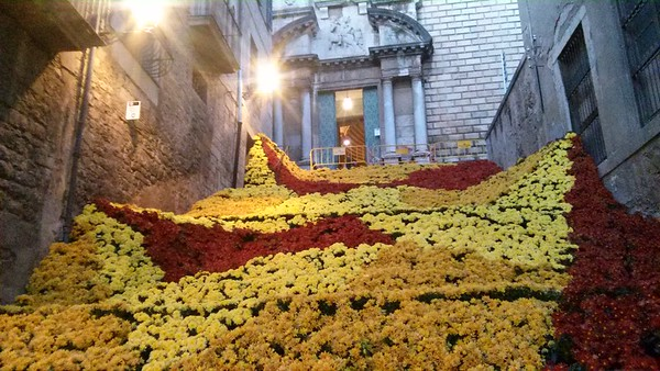Yellow and red flowers cascade down the steps from Girona's Temps de Flores
