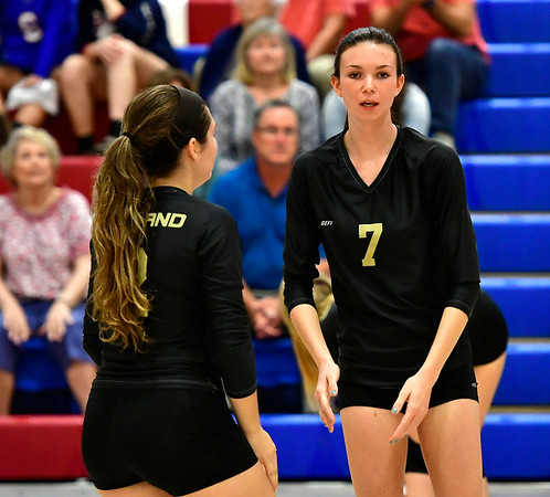 9/27/2018 Mike Orazzi | Staff Woodland's Alyssa Lukeski (12) and Stephanie Krebbs (7) Thursday night in Bristol.
