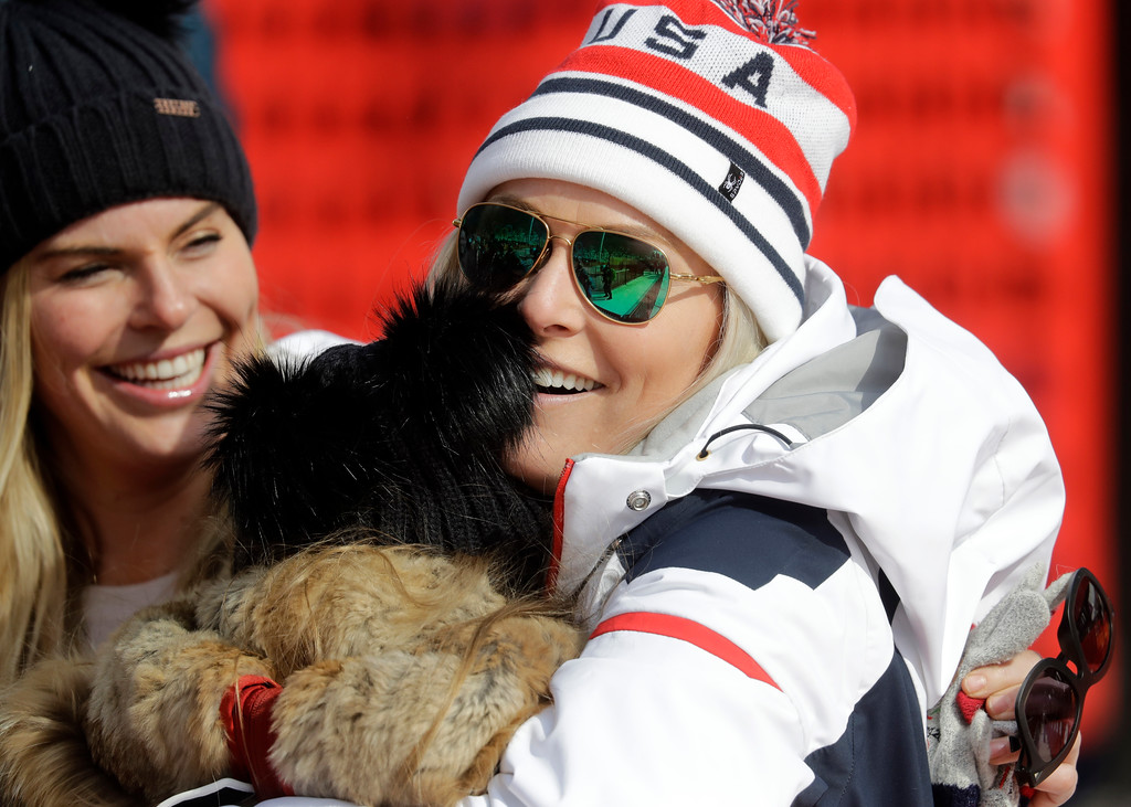 . United States\' Lindsey Vonn smiles after competing in the women\'s downhill at the 2018 Winter Olympics in Jeongseon, South Korea, Wednesday, Feb. 21, 2018. (AP Photo/Michael Probst)