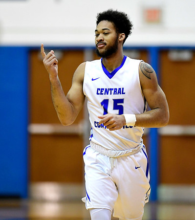 1/19/2019 Mike Orazzi | Staff CCSU's Jamir Coleman (15) during Saturday's Men's basketball game with Saint Francis University in New Britain.